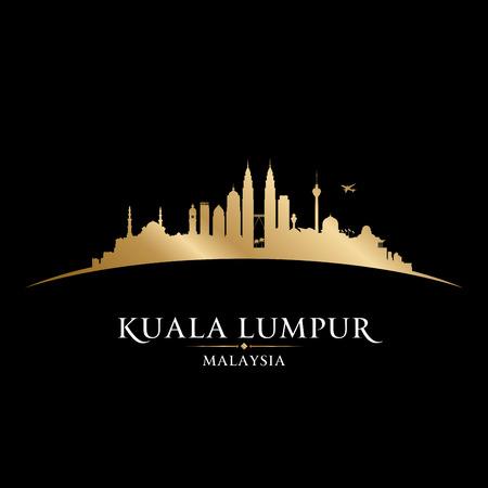 マレーシアのクアラルンプールのスカイライン詳細なベクトル シルエット 写真素材 - 76964189