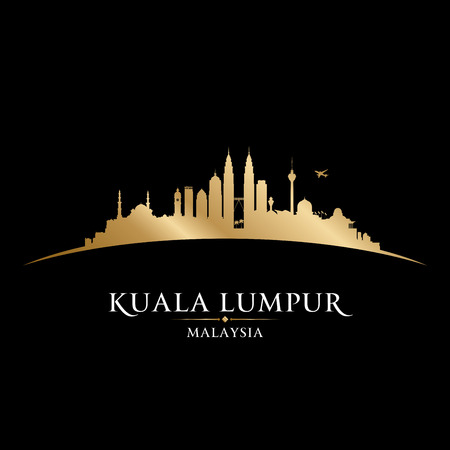 Kuala Lumpur Malaysia skyline Detailed vector silhouette Illusztráció