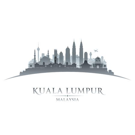 マレーシア クアラルンプール都市スカイライン シルエット。ベクトル図