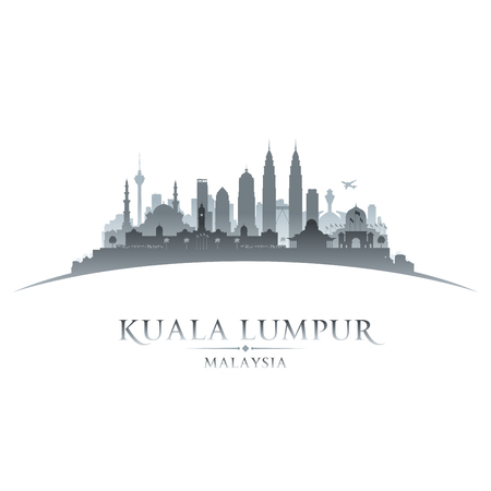 Kuala Lumpur Malaysia city skyline silhouette. Vector illustration Illusztráció