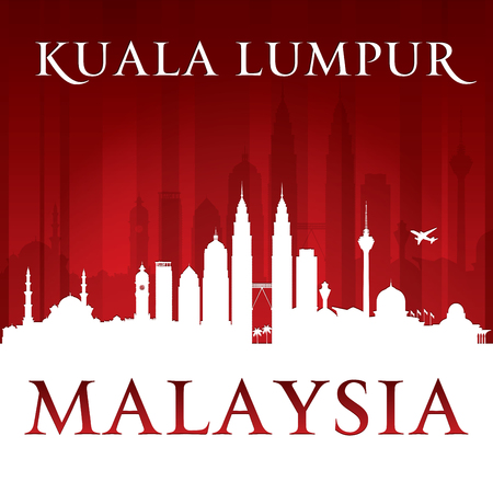 building: Kuala Lumpur Malaysia city skyline silhouette. Vector illustration Illustration