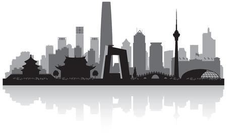 北京中国都市スカイライン ベクトル シルエット イラスト