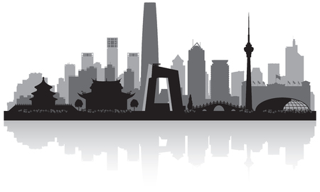 Beijing China city skyline vector silhouette illustration