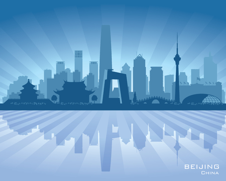 water reflection: Beijing China city skyline vector silhouette illustration