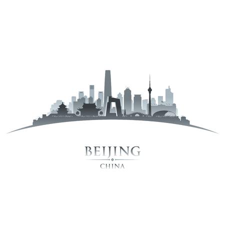 Beijing China city skyline silhouette. Vector illustration Иллюстрация