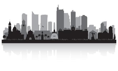 マニラ フィリピンの都市スカイラインのベクトル シルエット イラスト