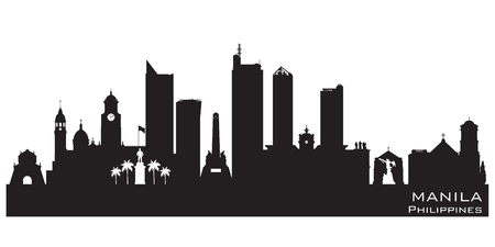 Manila Philippines skyline Detailed vector silhouette Imagens - 77061341