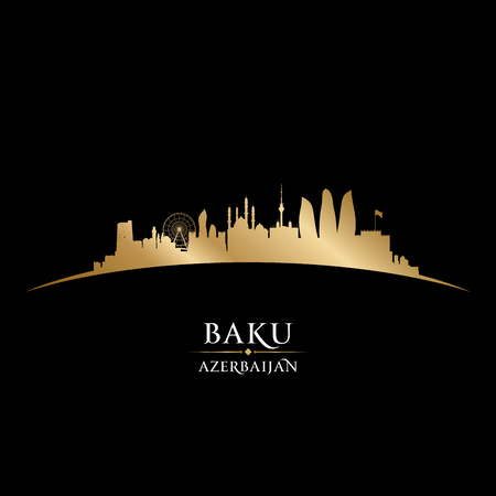 gold: Baku Azerbaijan skyline Detailed vector silhouette
