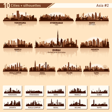 City skyline set. Azië. Vector silhouet illustratie. Stock Illustratie