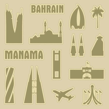 Manama Bahrain city icon symbol silhouette set. Vector background illustration Illustration