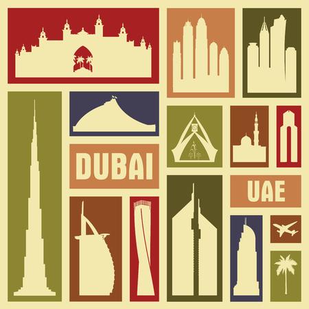 icon vector: Dubai UAE city icon symbol silhouette set. Vector background illustration