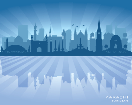office building: Karachi Pakistan city skyline vector silhouette illustration