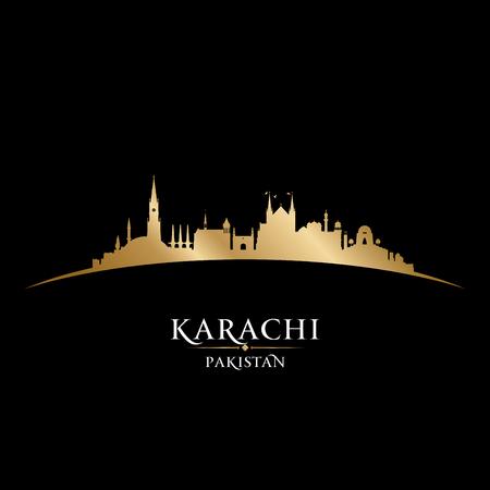 postcard: Karachi Pakistan skyline Detailed vector silhouette Illustration