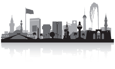 Jeddah Saudi Arabia city skyline vector silhouette illustration