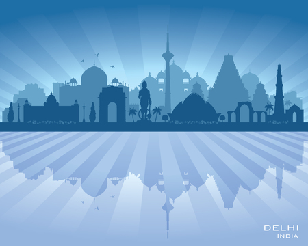 contemporary: Delhi India city skyline vector silhouette illustration