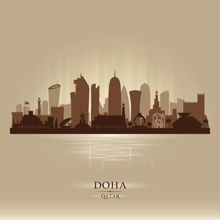 Doha Qatar skyline città silhouette illustrazione vettoriale