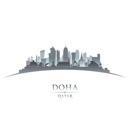 dark: Doha Qatar city skyline silhouette. Vector illustration