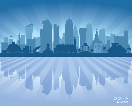 dark: Doha Qatar city skyline vector silhouette illustration Illustration