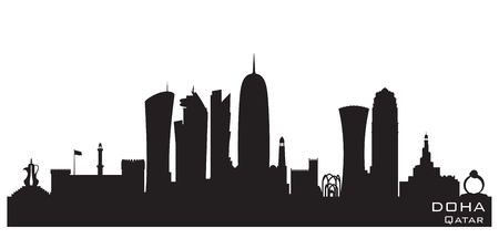 Doha Qatar skyline Detailed vector silhouette