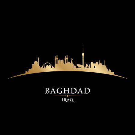 postcard: Baghdad Iraq city skyline silhouette. Vector illustration Illustration