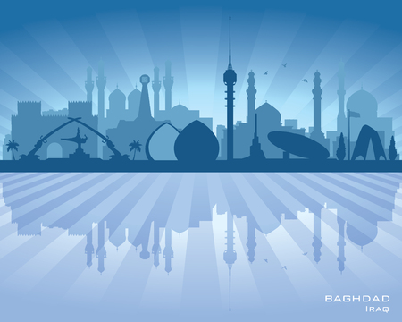 office building: Baghdad Iraq city skyline vector silhouette illustration Illustration
