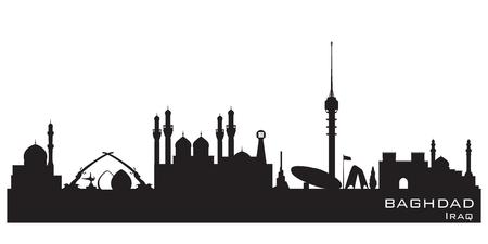 Baghdad Iraq skyline Detailed vector silhouette
