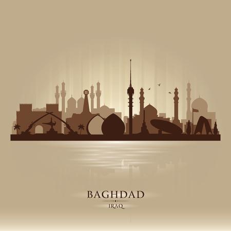 Bagdá, Iraque, cidade, skyline, vetorial, silueta, ilustração