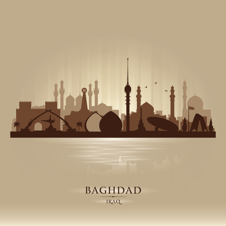 Baghdad Iraq city skyline vector silhouette illustration Ilustracja
