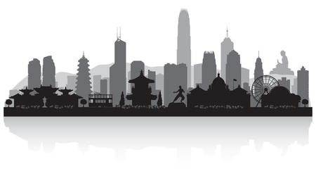 Hong Kong China city skyline vector silhouette illustration