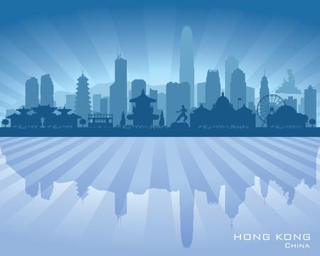 modern office: Hong Kong China city skyline vector silhouette illustration