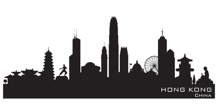 silhouette contour: Hong Kong China skyline Detailed silhouette Illustration