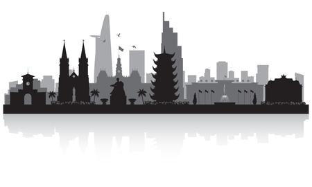 Ho Chi Minh city Vietnam skyline vector silhouette illustration Vettoriali