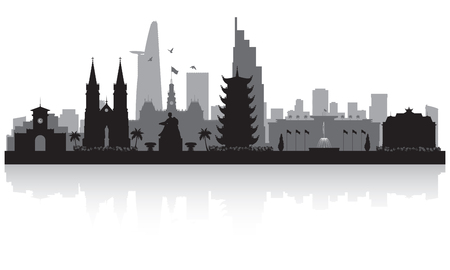 Ho Chi Minh city Vietnam skyline vector silhouette illustration Çizim