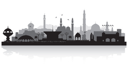 Illustrazione della siluetta di vettore dell'orizzonte della città di Muscat Oman