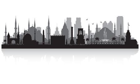 Istanbul Turkey city skyline vector silhouette illustration Illusztráció