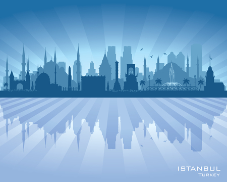lake shore: Istanbul Turkey city skyline vector silhouette illustration Illustration