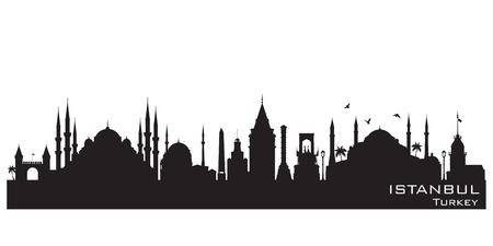 イスタンブール トルコ スカイライン詳細なベクトル シルエット