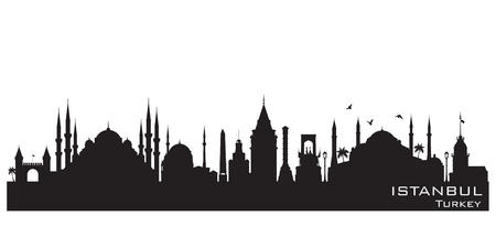 Istanbul Turkey skyline Detailed vector silhouette