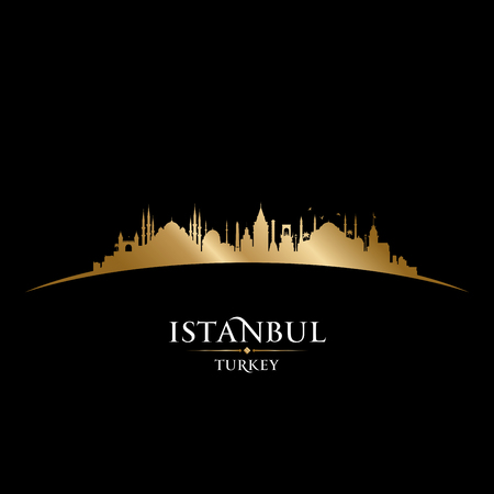 Istanbul Turkey city skyline silhouette. Vector illustration Illustration