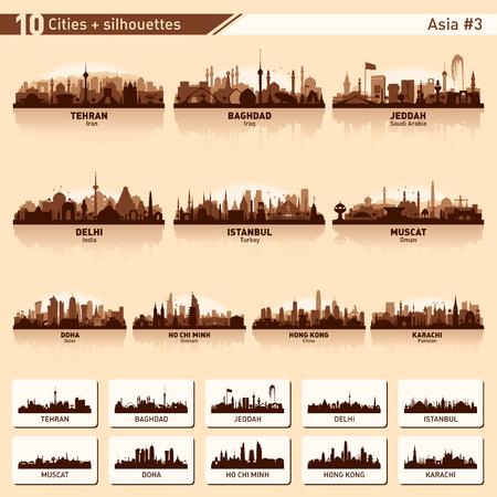Ensemble de skyline de la ville. Asie. Illustration de silhouette vecteur.