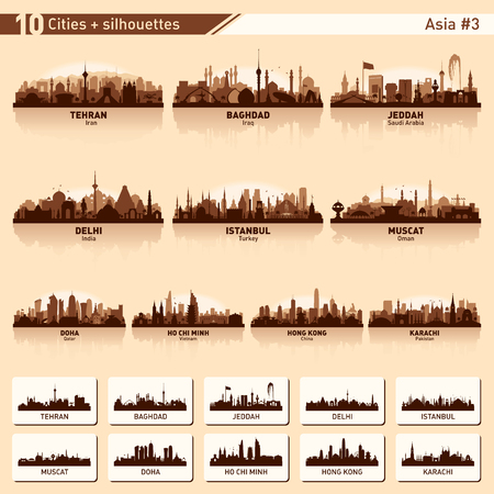 Horizonte de la ciudad conjunto. Asia. Vector silueta ilustración.