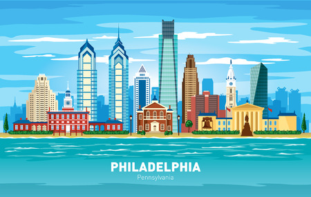 Philadelphia Pennsylvania city skyline color vector silhouette illustration