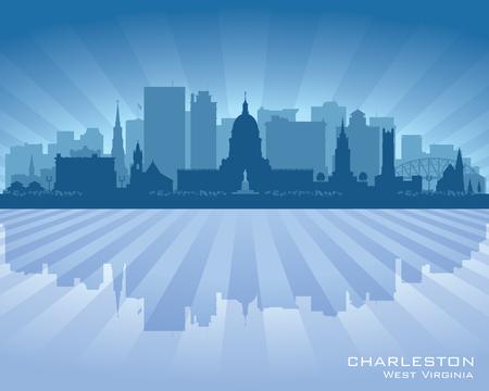 Charleston West Virginia city skyline vector silhouette illustration