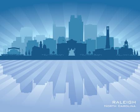 Raleigh North Carolina city skyline vector silhouette illustration