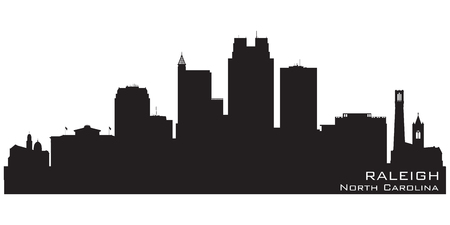 Skyline van Raleigh North Carolina Gedetailleerd vector silhouet