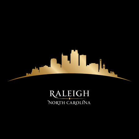 Raleigh North Carolina city skyline silhouette. Vector illustration