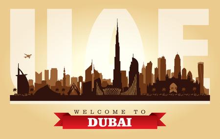 Ilustración de silueta de vector de horizonte de ciudad de Dubai, Emiratos Árabes Unidos