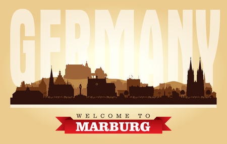 Marburg Germany city skyline vector silhouette illustration Stock Vector - 109675602