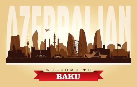 Baku Azerbaijan city skyline vector silhouette illustration