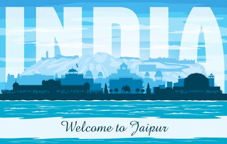 Jaipur India city skyline vector silhouette illustration Ilustrace
